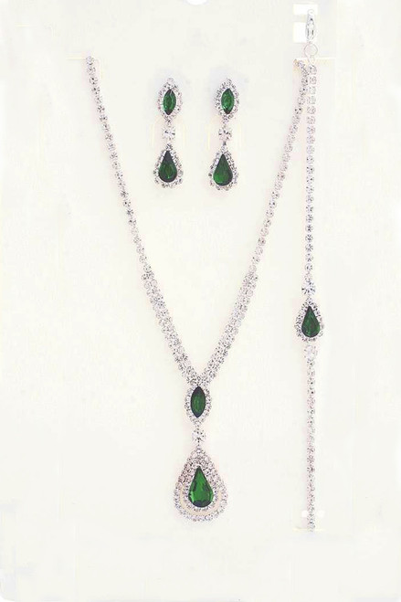 Silver plated and emerald crystal teardrop marquise rhinestone necklace and bracelet set with striking sparkle to add to your special occasion outfit - shop prom avenue  Lead and Nickel Compliant