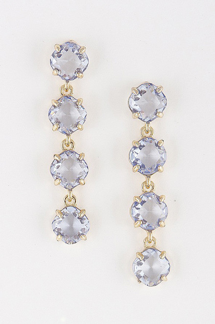 Charming crystal linked earrings in gold blue, a gorgeous and classic beauty- shop prom avenue
