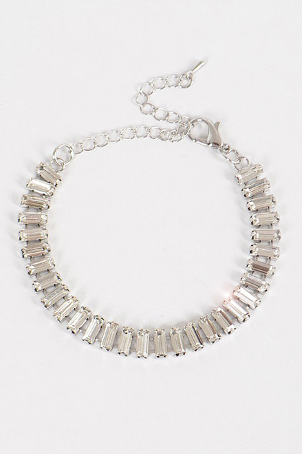 Silver plated chain and clear glass stone bracelet that shines with lobster claw for closure. Perfect accessory for your special occasion- shop prom avenue  Available in Silver and Clear Stone as Shown