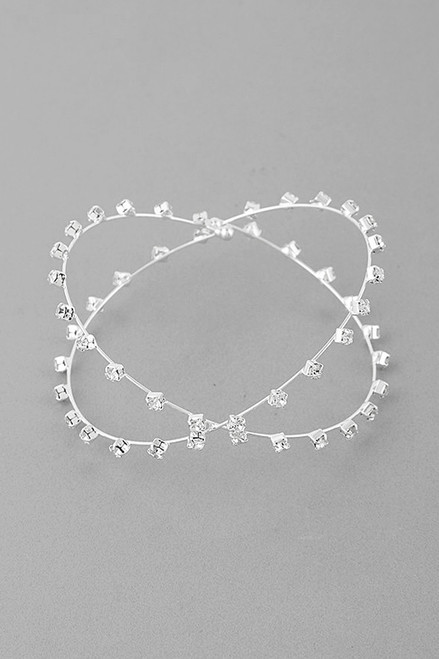 Fun expression of infinite design in silver rhinestone bracelet that is delicate and stunning in silver plated metal setting - shop prom avenue