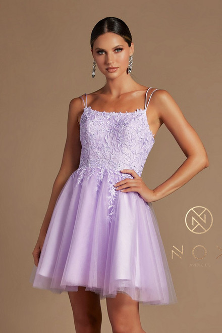 NX T718,Vibrant embroidered lilac color short prom or homecoming dress in style  NX T718 with square neckline and corset lace up back closure to fit your body - shop prom avenue   Available in Lilac