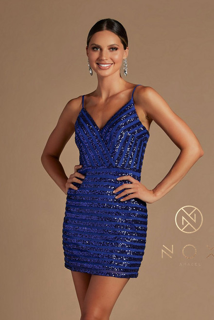 Stand out and shine with this shimmering spaghetti straps homecoming cocktail dress in style NX R706, with stretchable fitted silhouette and zip up closure, the dress is a perfect outfit for a a flawless night out or any special event - shop prom avenue   Available in Burgundy and Royal Blue