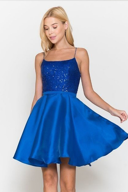 PU 8730, poly usa 8730,Aura in confidence in style PU 8447 with square neckline and sequins bodice. The dress has corset lace up back and thin spaghetti straps. Shop prom avenue  Available in Royal Blue