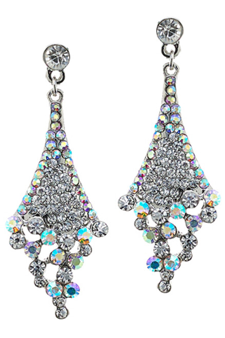 Silver Triangular Pave Earring