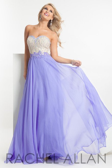 Feel like a princess in this stunning dress from Rachel Allan 6884 featuring a sweetheart strapless gown with a nude beaded bodice and a chiffon skirt -shop prom-avenue  Fabric:Chiffon  Available in Fuschsia,  Mint,  Pnk,  Periwinkle  Ships in 5-7 days