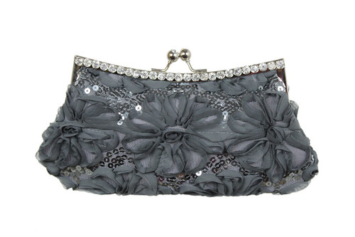SATIN FABRIC RHINESTONE ACCENT REMOVABLE CHAIN STRAP
