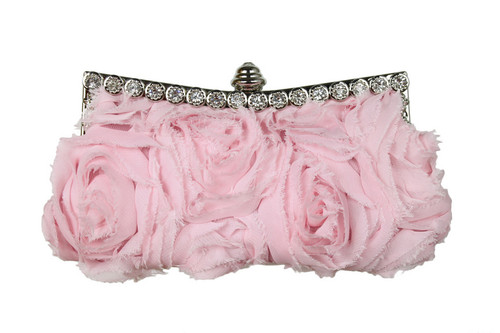 SATIN FABRIC, RHINESTONE ACCENT, REMOVABLE CHAIN STRAP, COLOR - BABY PINK