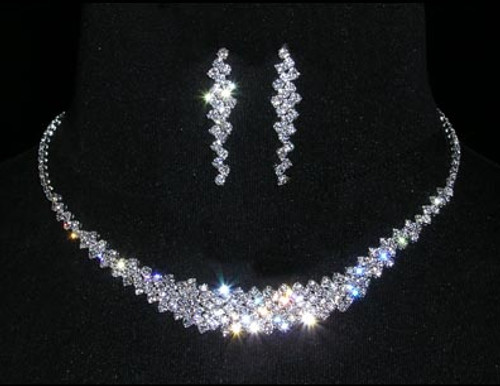 "THIS NECKLACE IS 9/16"" AT THE TALLEST POINT.  THEY ARE 13.25"" - 17"" ADJUSTABLE.  THE EARRINGS ARE 1.5"" TALL.  PLATED IN STERLING SILVER.  RHINESTONE NECKLACE AND EAR SET"