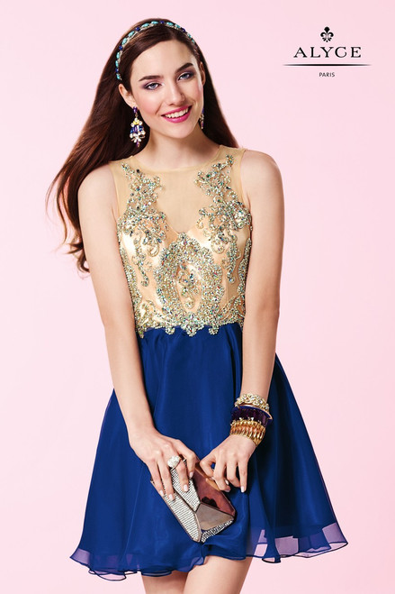 Whether you're going to prom, celebrating your sweet 16, or headed for homecoming, this sparkling sleeveless beaded short dress will make you the life of the party. This dress features beautifully beaded nude top and a colored sheer layered chiffon shirt.- shop prom-avenue  Fabric: Chiffon