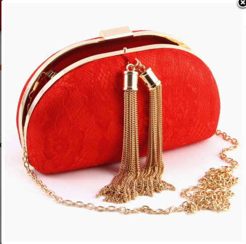 Elegant Metallic Fringe Evening Bag