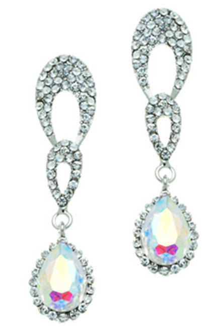 Pave Teardrop Posted Earring