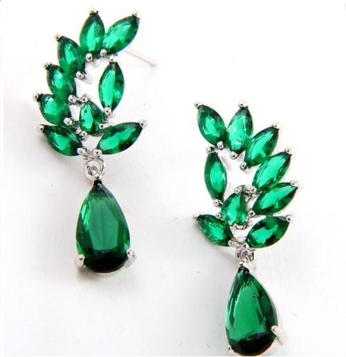 Cubic Zirconia Crystal Drop Post Earrings