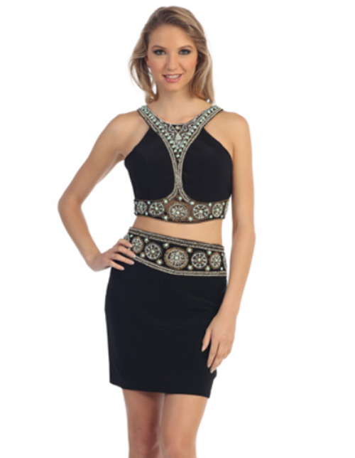 Two Piece Racer Back Cocktail Dress 5870
