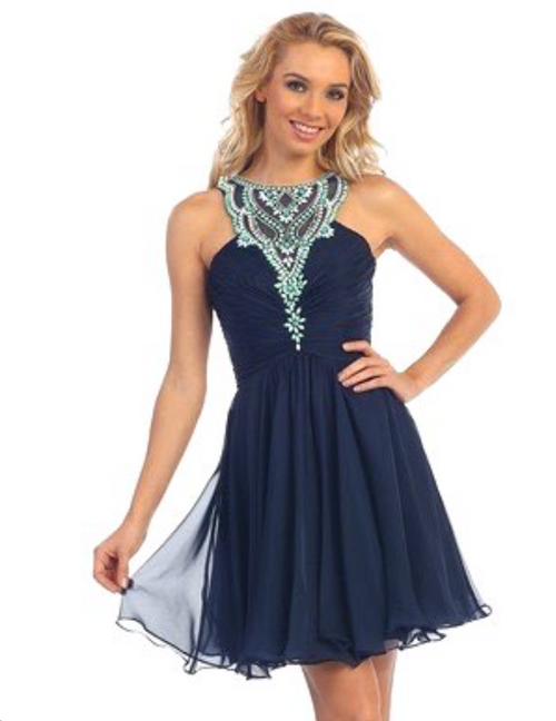 Halter Neckline Short Homecoming Dress #6012