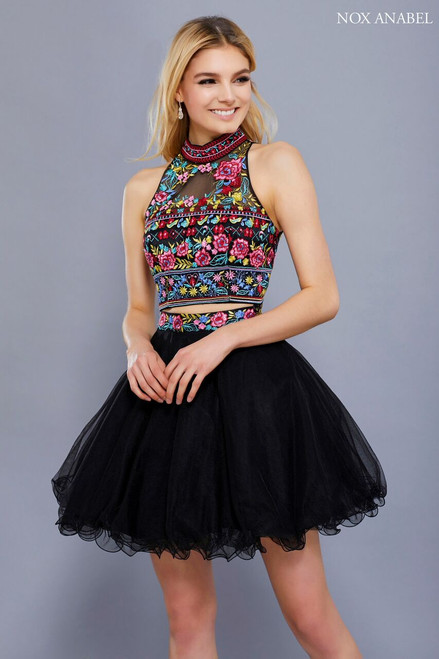 Planning to attend your homecoming dance or special event is easy with this dress from NX 6272 that featuring a two piece high neckline dress with an open sexy back - shop prom-avenue  Available in Black, Red, Royal Blue, Baby Pink