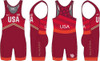 Nike Men's USAWR Double Chevron Tour Wrestling Singlet - Red