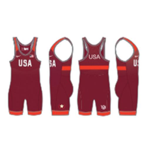 Nike Youth USAWR Grappler Elite Tour Wrestling Singlet - Red