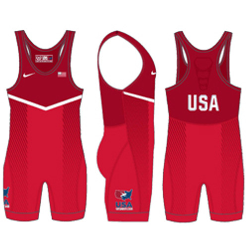 Nike Women's USAWR Grappler Elite Tour 2 Wrestling Singlet - Red