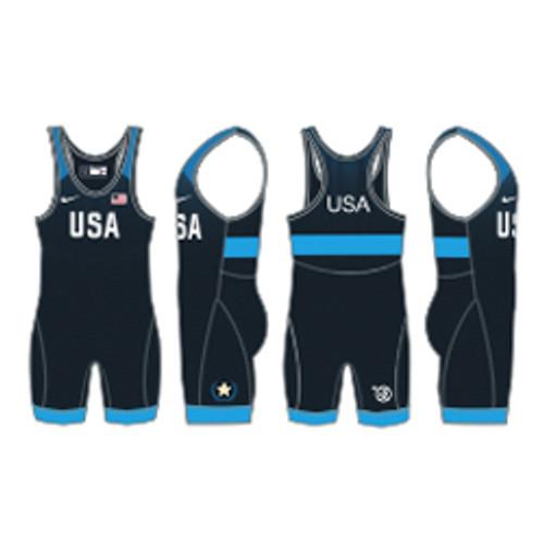 Nike Women's USAWR Grappler Elite Tour Wrestling Singlet - Navy