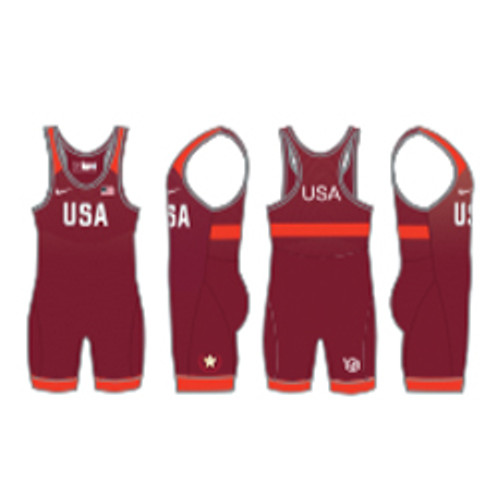 Nike Women's USAWR Grappler Elite Tour Wrestling Singlet - Red