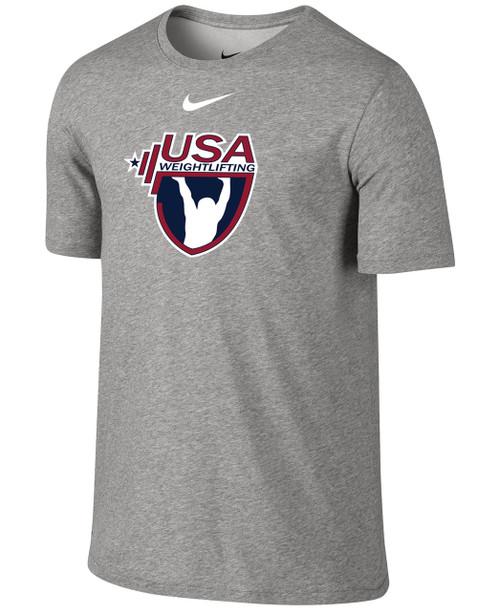 Nike Men's USAW 3-D High Density Silicone Logo Team Legend SS Crew - Grey