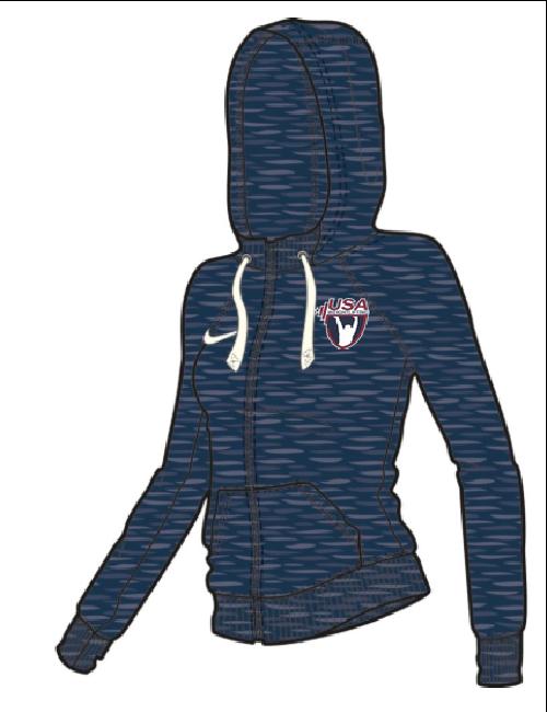 Nike Women'sUSAW Vintage Full Zip Hoodie - Navy/Sail