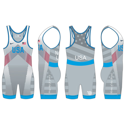 Nike Men's USAWR Budapest Tour Wrestling Singlet - Silver
