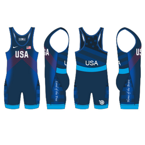 Nike Men's USAWR Budapest Tour Wrestling Singlet - Navy