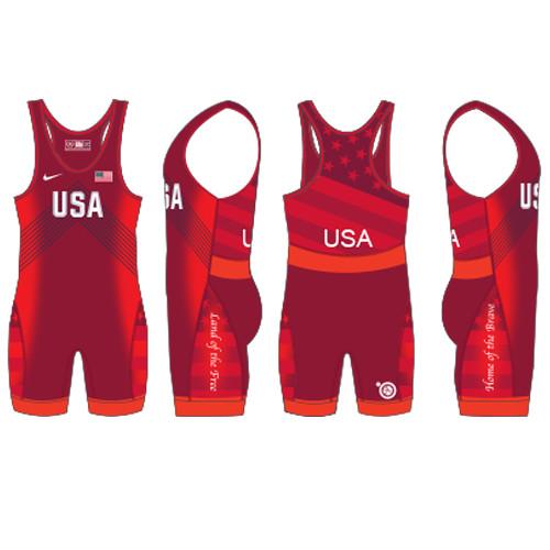 Nike Women's USAWR Budapest Tour Wrestling Singlet - Red