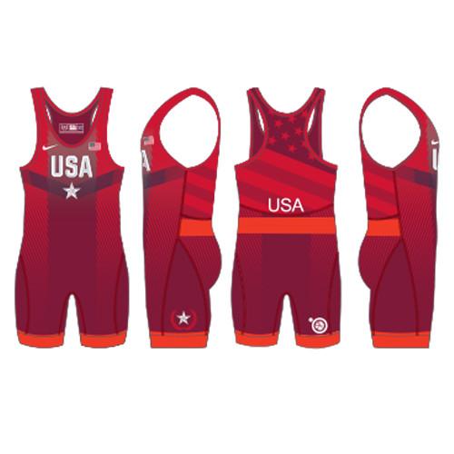 Nike Youth USAWR Paris Tour Wrestling Singlet - Red