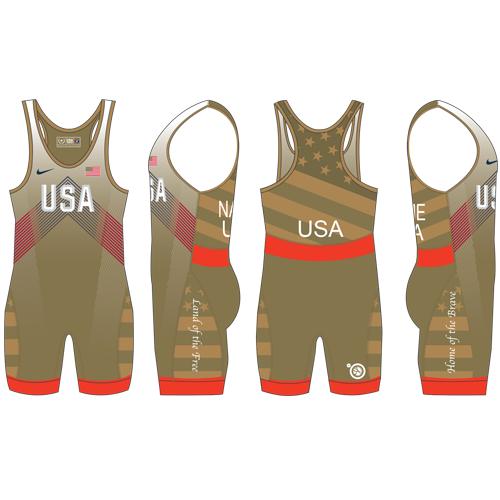 Nike Youth USAWR Budapest Tour Wrestling Singlet - Gold