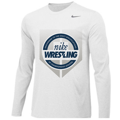 Nike Wrestling Engineered Legend Long Sleeve Crew - Navy/Silver