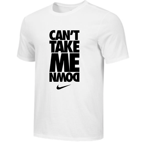 Nike Men's Wrestling Can't Take Me Down Tee - White/Black