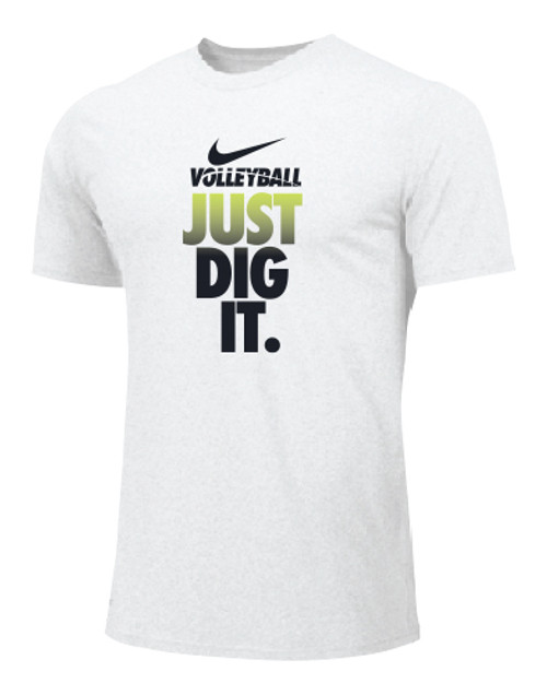 Nike Men's Volleyball Just Dig It Tee - White/Volt/Black