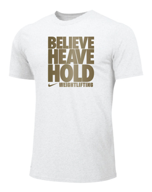 Nike Men's Weightlifting Believe Heave Hold Tee - White/Gold
