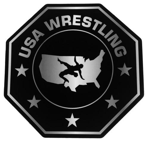 USAWR Octagon 4 Inch Vinyl Sticker - Black/Silver