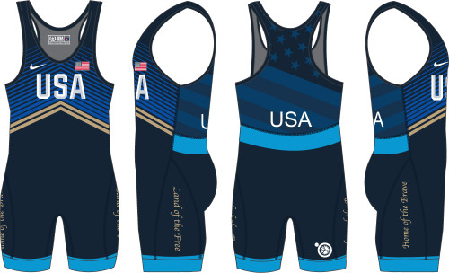 Nike Men's USAWR Double Chevron Tour Wrestling Singlet - Blue