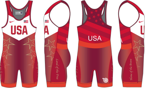 Nike Youth USAWR Star Tour Wrestling Singlet - Red