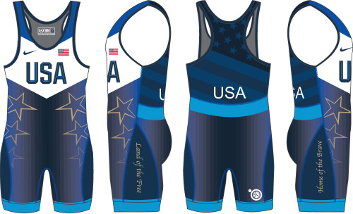 Nike Youth USAWR Star Tour Wrestling Singlet - Blue
