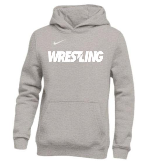 Nike Youth Wrestling Pullover Club Fleece Hoodie - Grey/White