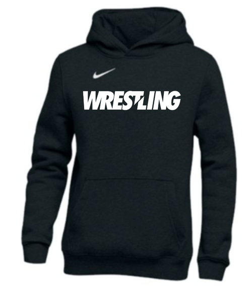 Nike Youth Wrestling Pullover Club Fleece Hoodie - Black/White