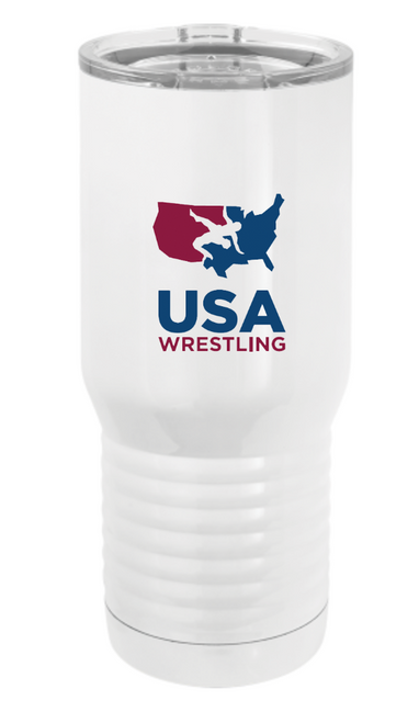 USAWR Polar Camel Stainless Steel 20 oz Travel Mug - White/Red/Blue