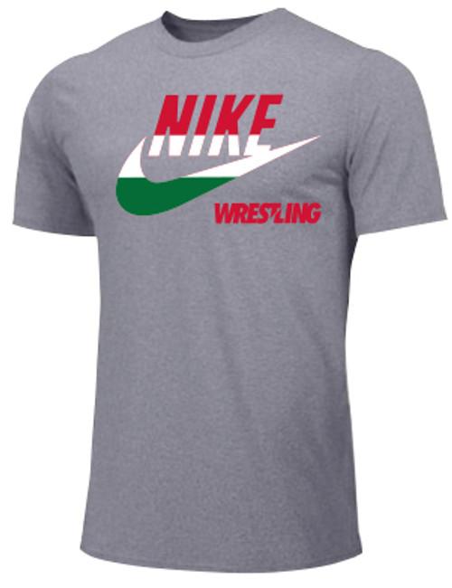 Nike Men's Wrestling Hungary Flag  Tee - Grey