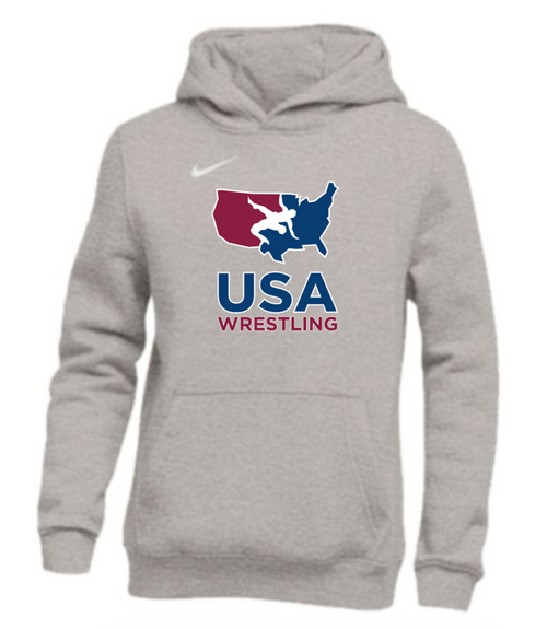 Nike Youth USAWR Pullover Club Fleece Hoodie - Grey/White
