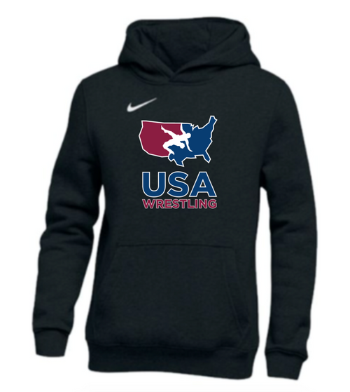 Nike Youth USAWR Pullover Club Fleece Hoodie - Black/White
