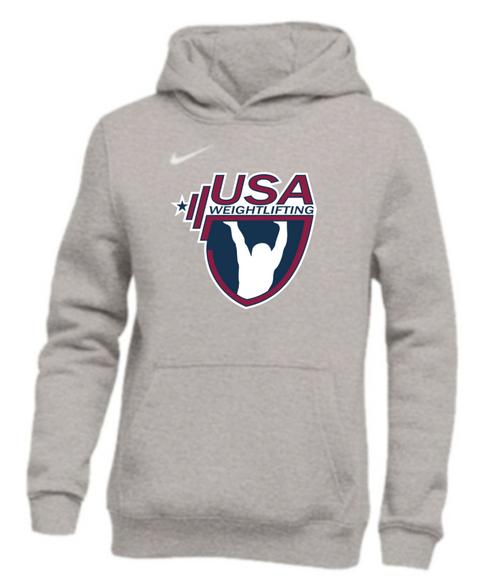 Nike Youth USAW Pullover Club Fleece Hoodie - Grey/White
