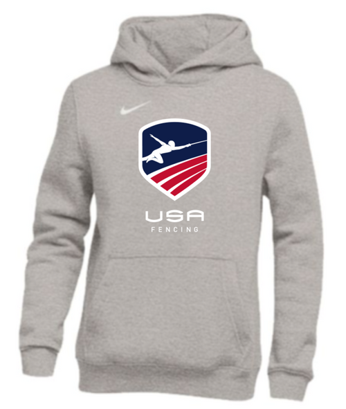 Nike Youth USAF Pullover Club Fleece Hoodie - Grey/White