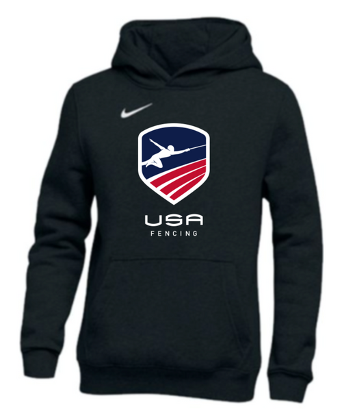 Nike Youth USAF Pullover Club Fleece Hoodie - Black/White