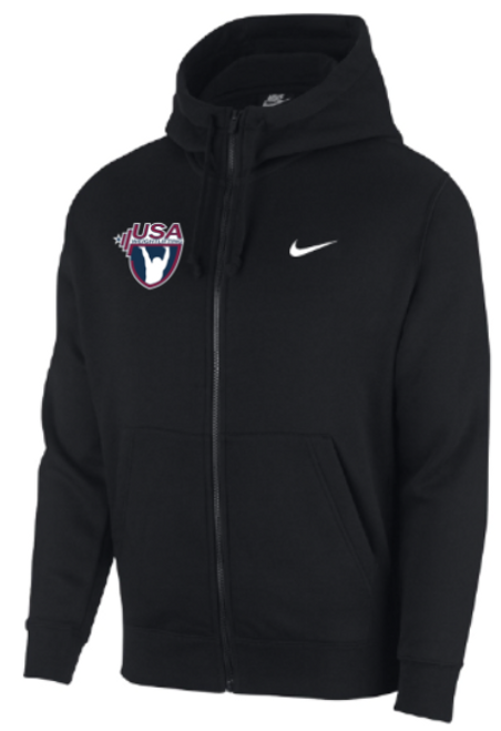Nike Men's USAW Club Fleece Full Zip Hoodie - Black