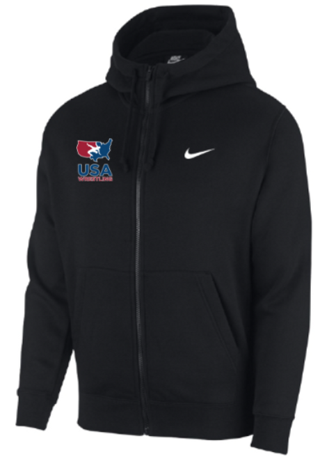 Nike Men's USAWR Club Fleece Full Zip Hoodie - Black